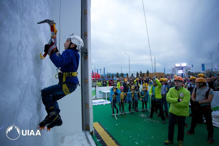 Young generation of ice climbers at the Olympic Park