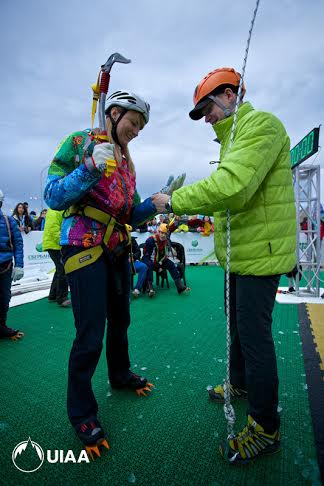 Svetlana Zhurova, former Russian speed skater and 'mayor' of Sochi's Olympic Village visits the ice climbing wall.