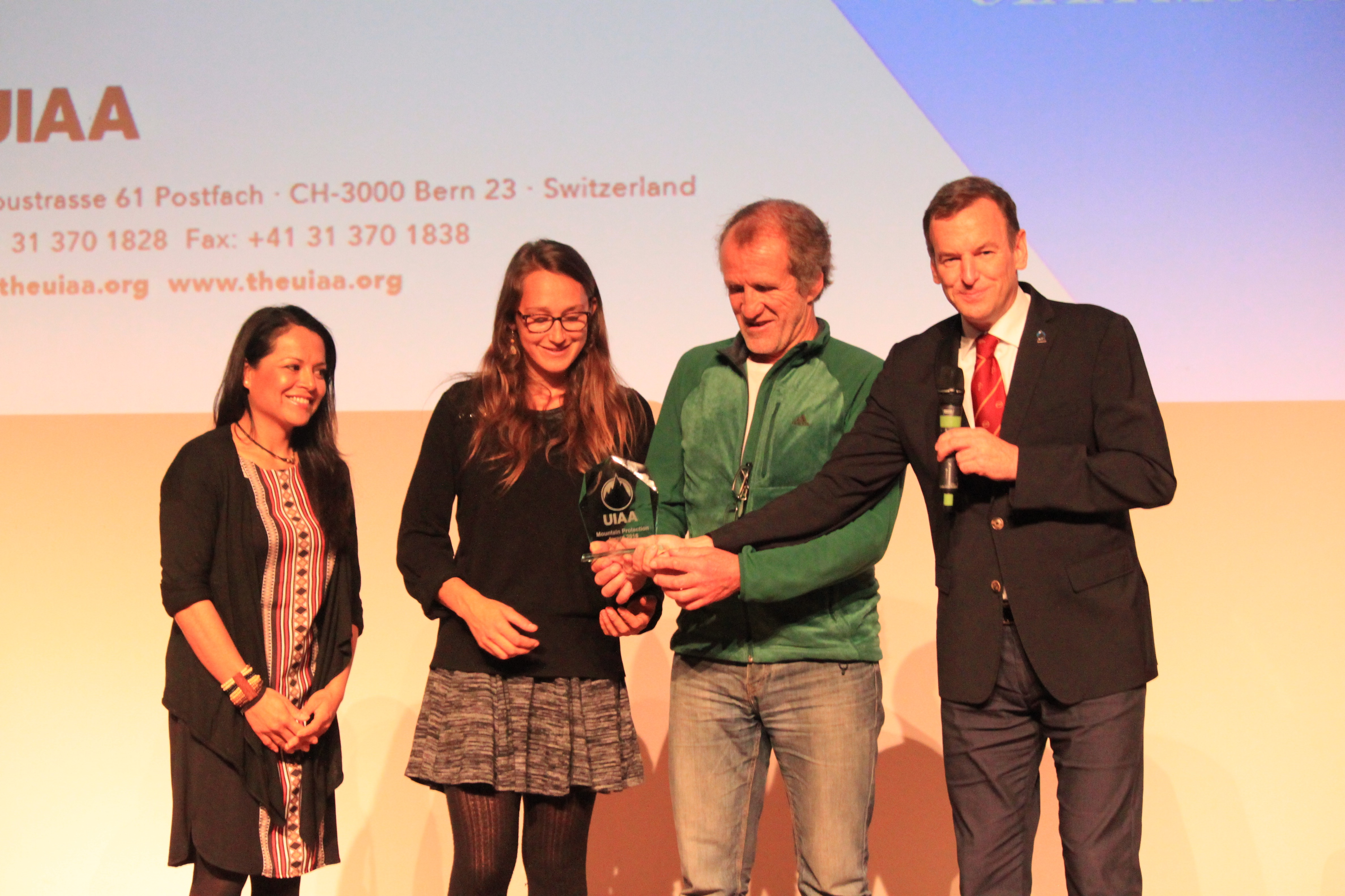 Mountain Wilderness, winner of the 2016 UIAA Mountain Protection Award. Dr Carolina Adler, auline Müller, Freddy Meignan and Frits Vrijlandt.